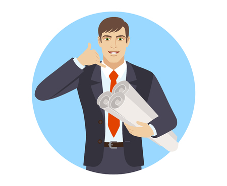 Call me! Businessman holding the project plans and showing a call me sign. Portrait of businessman character in a flat style. Vector illustration.