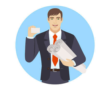 met: Businessman holding the project plans and showing the business card. Portrait of businessman character in a flat style. Vector illustration.