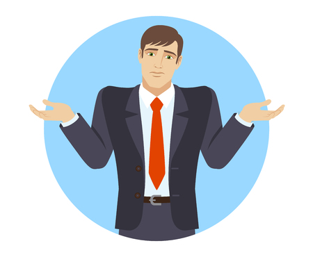 I don't know. Businessman with an I don't know gesture. Portrait of businessman character in a flat style. Vector illustration.