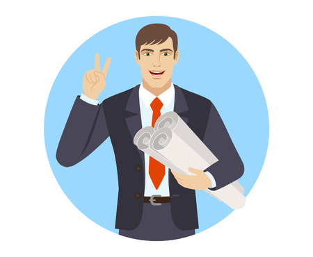 Businessman holding the project plans and showing victory sign. Portrait of businessman character in a flat style. Vector illustration.