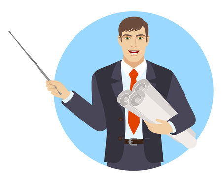 Businessman holding the project plans and holding a pointer. Portrait of businessman character in a flat style. Vector illustration.