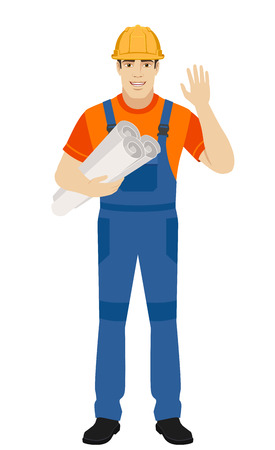 Builder holding the project plans and greeting someone with his hand raised up. Full length portrait of builder character in a flat style. Vector illustration. Illustration