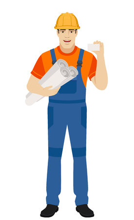 Builder holding the project plans and showing the business card. Full length portrait of builder character in a flat style. Vector illustration.