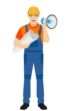 Builder with loudspeaker holding the project plans. Full length portrait of builder character in a flat style. Vector illustration.