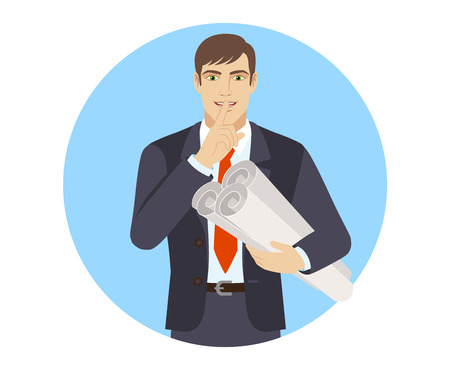 Businessman holding the project plans and making hush sign. Portrait of businessman character in a flat style. Vector illustration.