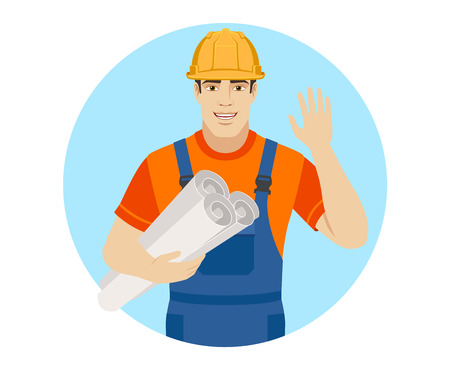 Builder holding the project plans and greeting someone with his hand raised up. Portrait of builder character in a flat style. Vector illustration.