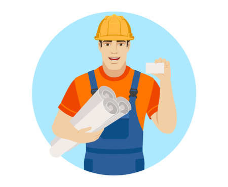 Builder holding the project plans and showing the business card. Portrait of builder character in a flat style. Vector illustration. Illustration