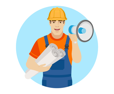 Builder with loudspeaker holding the project plans. Portrait of builder character in a flat style. Vector illustration. Illustration