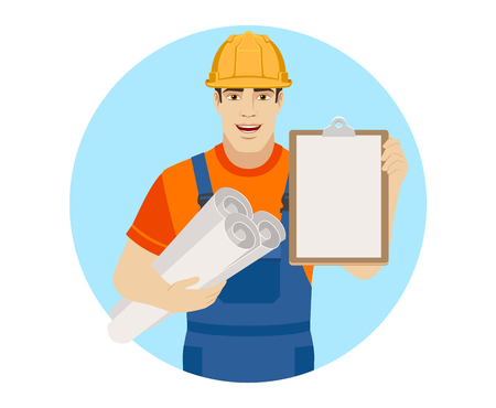 Builder holding the project plans and and clipboard. Portrait of builder character in a flat style. Vector illustration.