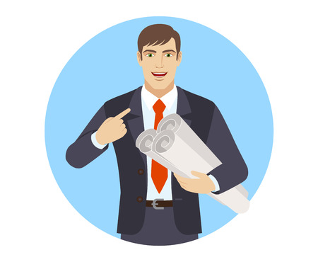 Businessman holding the project plans and pointing at himself. Portrait of businessman character in a flat style. Vector illustration.