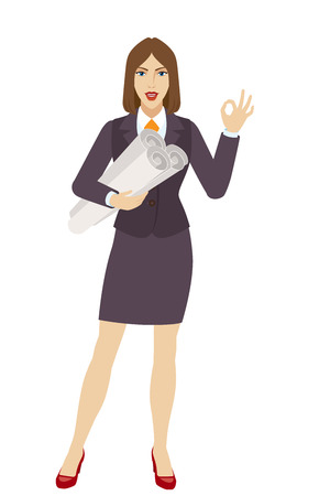 okey: Businesswoman holding the project plans and showing a okay hand sign. Full length portrait of businesswoman character in a flat style. Vector illustration.