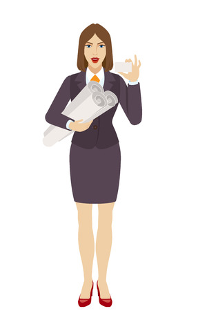 Businesswoman holding the project plans and showing the business card. Full length portrait of businesswoman character in a flat style. Vector illustration. Illustration