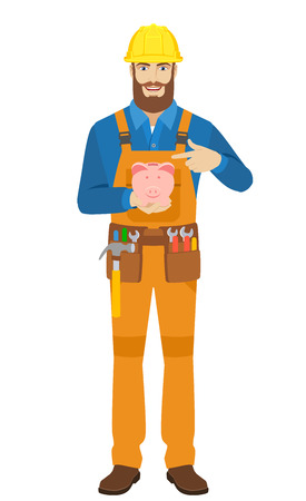 coveralls: Worker pointing at piggy bank. Full length portrait of worker character in a flat style. Vector illustration.