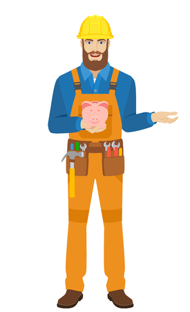 Worker with piggy bank gesturing. Full length portrait of worker character in a flat style. Vector illustration. Illustration
