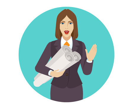 Businesswoman holding the project plans and greeting someone with his hand raised up. Portrait of businesswoman in a flat style. Vector illustration. Illustration