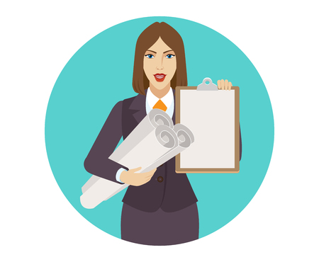 Businesswoman holding the project plans and clipboard. Portrait of businesswoman in a flat style. Vector illustration. Illustration