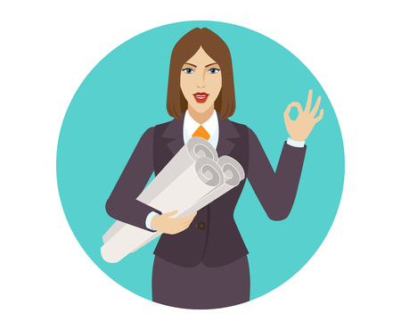 okey: Businesswoman holding the project plans and showing a okay hand sign. Portrait of businesswoman in a flat style. Vector illustration.