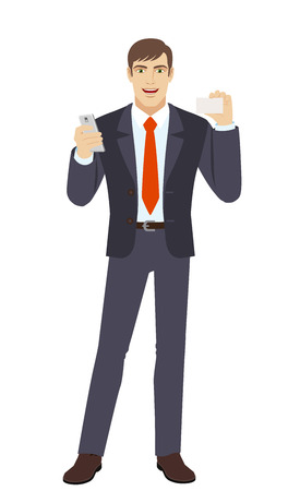 Businessman with mobile phone showing the business card. Full length portrait of businessman character in a flat style. Vector illustration.