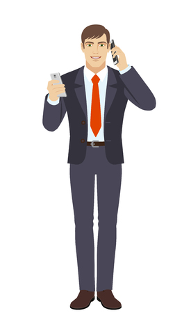 Businessman with mobile phone talking on the another mobile phone. Full length portrait of businessman character in a flat style. Vector illustration.
