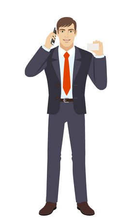 Businessman talking on the mobile phone and showing the business card. Full length portrait of businessman character in a flat style. Vector illustration. Illustration