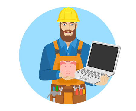 Worker with piggy bank and laptop notebook. Portrait of worker character in a flat style. Vector illustration.