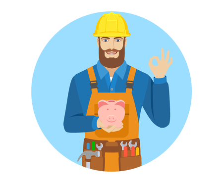 Worker with piggy bank showing a okay hand sign. Portrait of worker character in a flat style. Vector illustration.