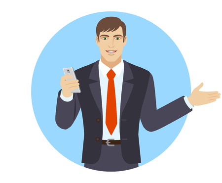 beside: Businessman with mobile phone showing something beside of him. Portrait of businessman character in a flat style. Vector illustration.