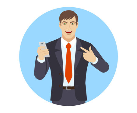 mobilephone: Self-promotion. Businessman with mobile phone pointing at himself. Portrait of businessman character in a flat style. Vector illustration.