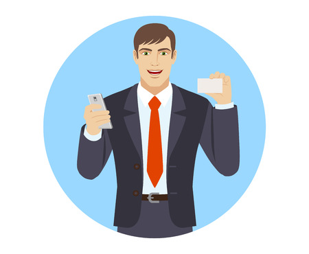 Businessman with mobile phone showing the business card. Portrait of businessman character in a flat style. Vector illustration. Illustration