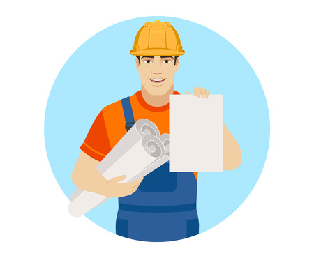 coveralls: Builder holding the project plans and  paper. Portrait of builder character in a flat style. Vector illustration.