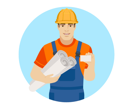Builder holding the project plans and showing business card. Portrait of builder character in a flat style. Vector illustration. Illustration