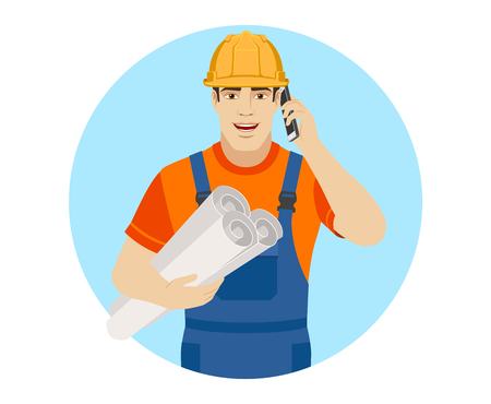 Builder holding the project plans and talking on the mobile phone. Portrait of builder character in a flat style. Vector illustration.