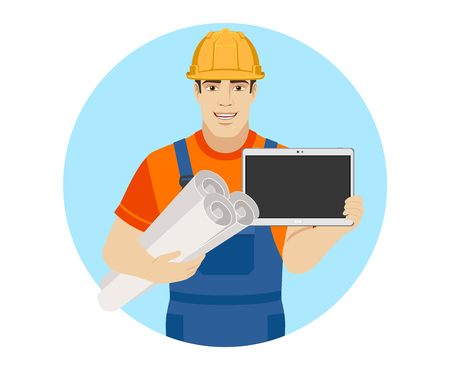 Builder holding the project plans and showing blank digital tablet PC. Portrait of builder character in a flat style. Vector illustration.