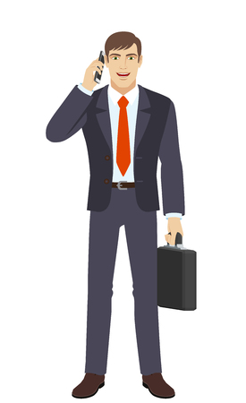Businessman with briefcase talking on the mobile phone. Full length portrait of businessman character in a flat style. Vector illustration. Illustration
