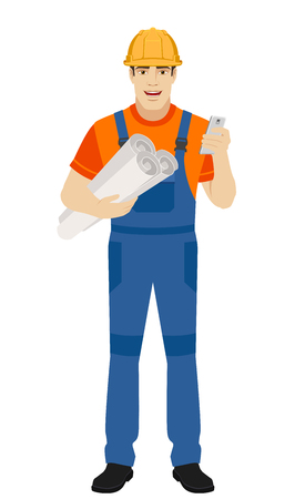 Builder holding the project plans and using mobile phone. Full length portrait of builder character in a flat style. Vector illustration.