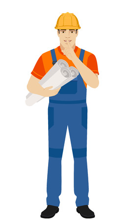 Hush hush. Builder holding the project plans and  making hush sign. Full length portrait of builder character in a flat style. Vector illustration.