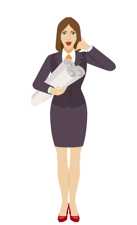 Businesswoman holding the project plans and showing a call me sign. Full length portrait of businesswoman character in a flat style. Vector illustration. Illustration
