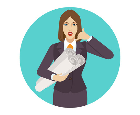 Businesswoman holding the project plans and showing a call me sign. Portrait of businesswoman in a flat style. Vector illustration. Illustration