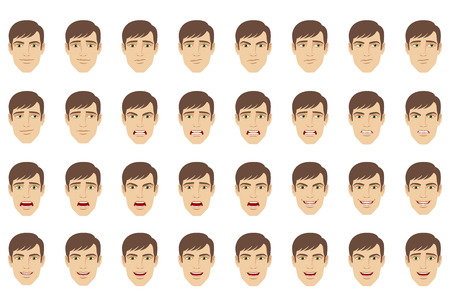 animate: Emotions set Businessman with different emotions and facial expressions.