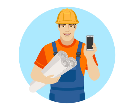 Builder holding the project plans and  showing mobile phone. Portrait of builder character in a flat style. Vector illustration. Illustration
