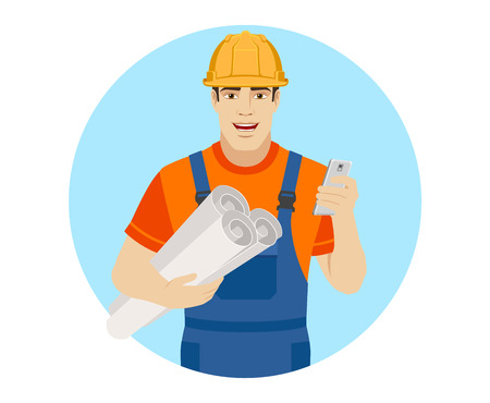 Builder holding the project plans and using mobile phone. Portrait of builder character in a flat style. Vector illustration.