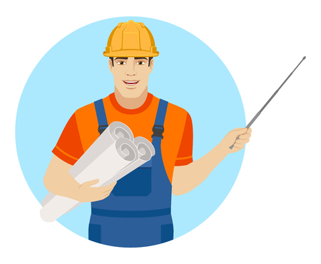 Builder holding the project plans and pointing with a pointer. Portrait of builder character in a flat style. Vector illustration.