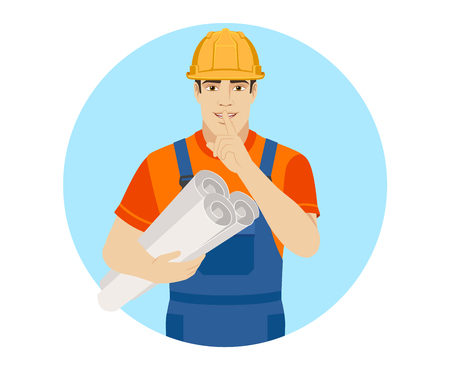 Hush hush. Builder holding the project plans and  making hush sign. Portrait of builder character in a flat style. Vector illustration.