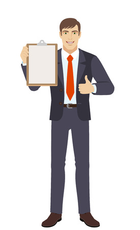 Businessman holding the clipboard and showing thumb up. Full length portrait of businessman character in a flat style.