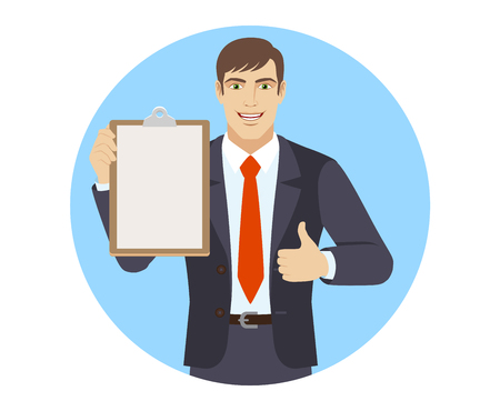 Businessman holding the clipboard and showing thumb up. Portrait of businessman character in a flat style. Vector illustration.