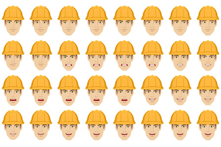 Emotions set. Worker with different emotions and facial expressions. Portrait of worker character in a flat style. Vector illustration. Illustration