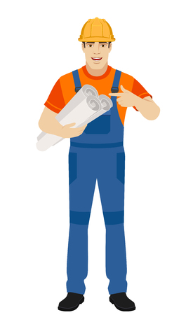Builder pointing the finger to the project plans . Full length portrait of builder character in a flat style. Vector illustration.