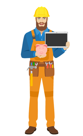Worker with piggy bank and digital tablet. Full length portrait of worker character in a flat style. Vector illustration.