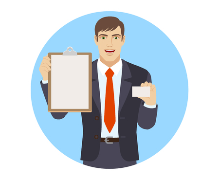 acquaintance: Businessman holding the clipboard and showing the business card. Portrait of businessman character in a flat style. Vector illustration. Illustration