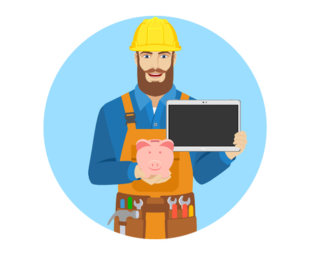 Worker with piggy bank and digital tablet. Portrait of worker character in a flat style. Vector illustration.